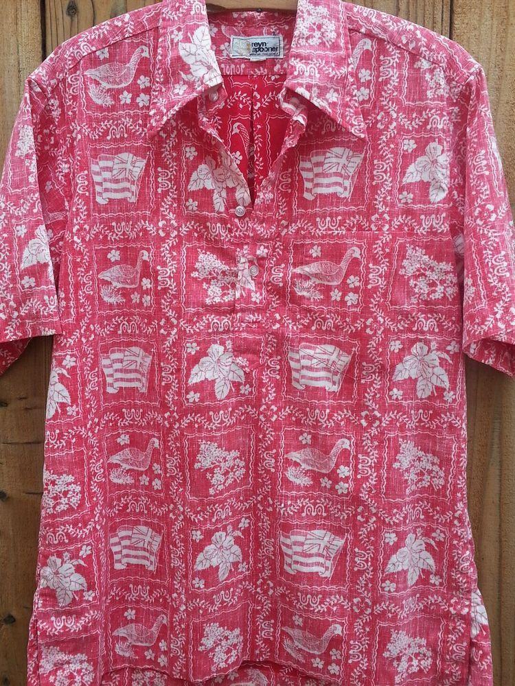 Vintage REYN SPOONER Reverse Print Half Button Pullover Hawaiian ...