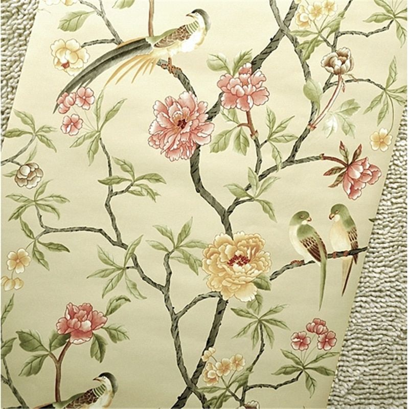 Wallpaper Designer Parrot /& Cockatoo Tropical Magnolia Floral on Pearlized Cream