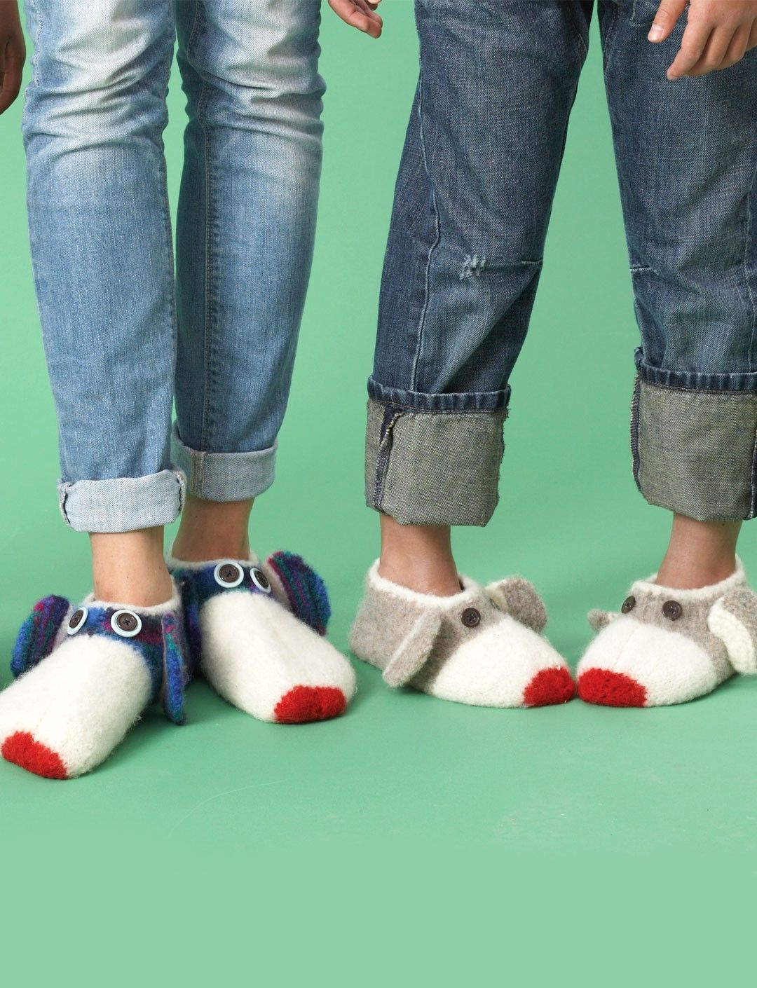 Yarnspirations patons monkey felted slippers patterns these slippers are adorable button eyed sock monkeys that keep feet warm and fun an easy pattern to knit in three sizes spanning shoe size kids of all ages bankloansurffo Choice Image