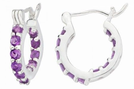 Amethyst Silver Creole Hoop Earrings  Internal gems make you sparkle from every angle Find stunning earrings at Affici.com