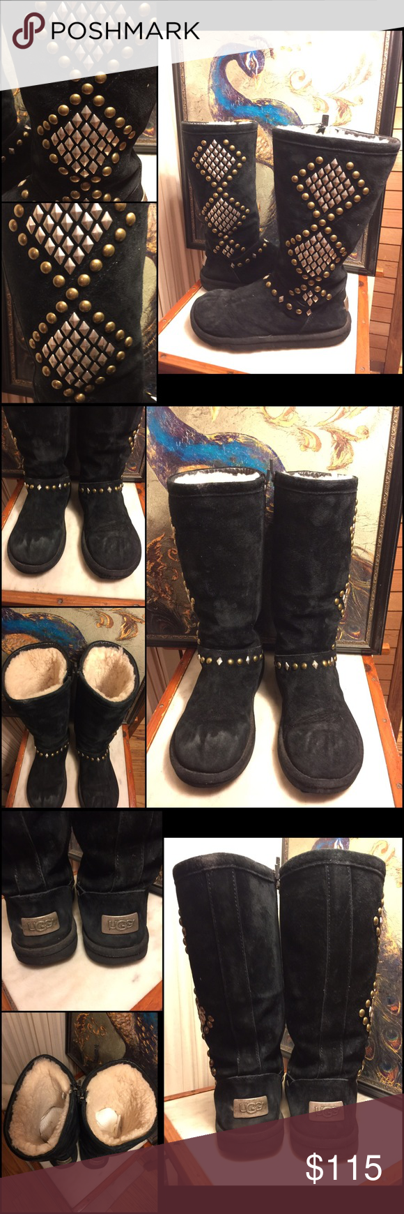 a38042c2aa3 SZ 6-UGG AVONDALE BLACK STUDDED SUEDE TALL BOOTS CHIC UGG AVONDALE ...