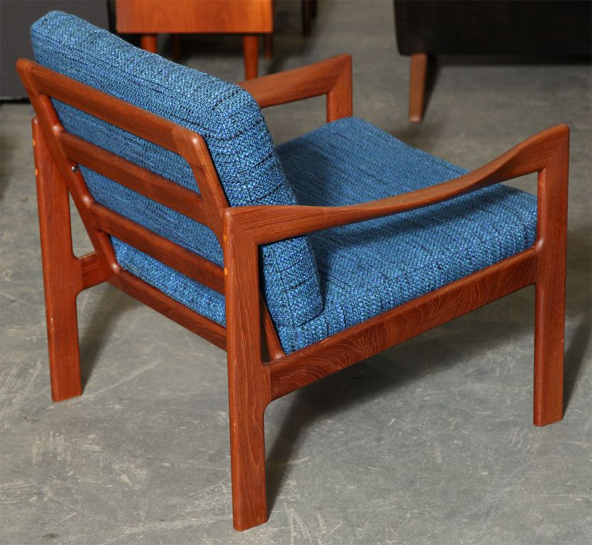Pair of Teak and Blue Armchairs by Illum Wikkelso | Blue armchair ...