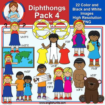 Clip Art - Diphthongs Pack 4 #clipartfreebies