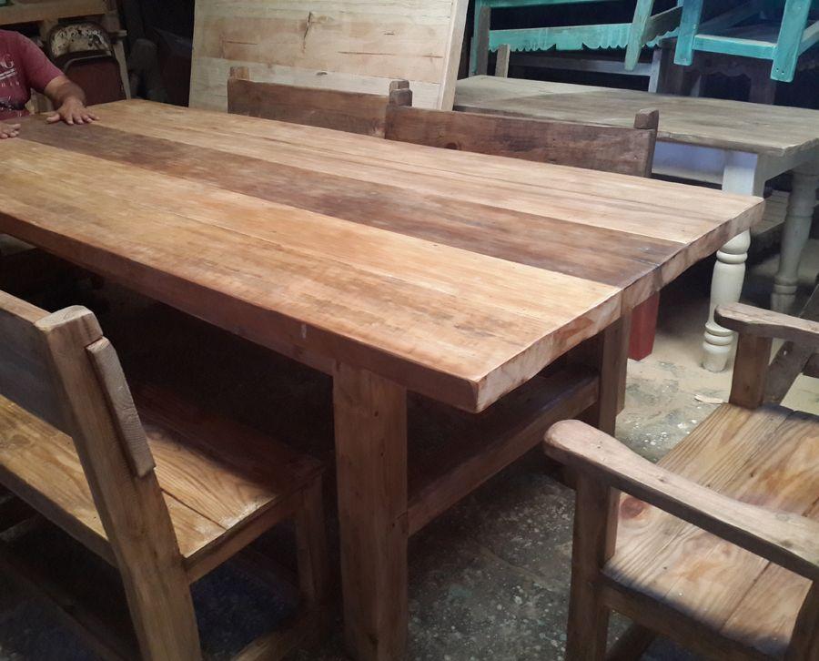 Mesa con banquetas modelo h muebles de exterior by for Muebles madera maciza uruguay