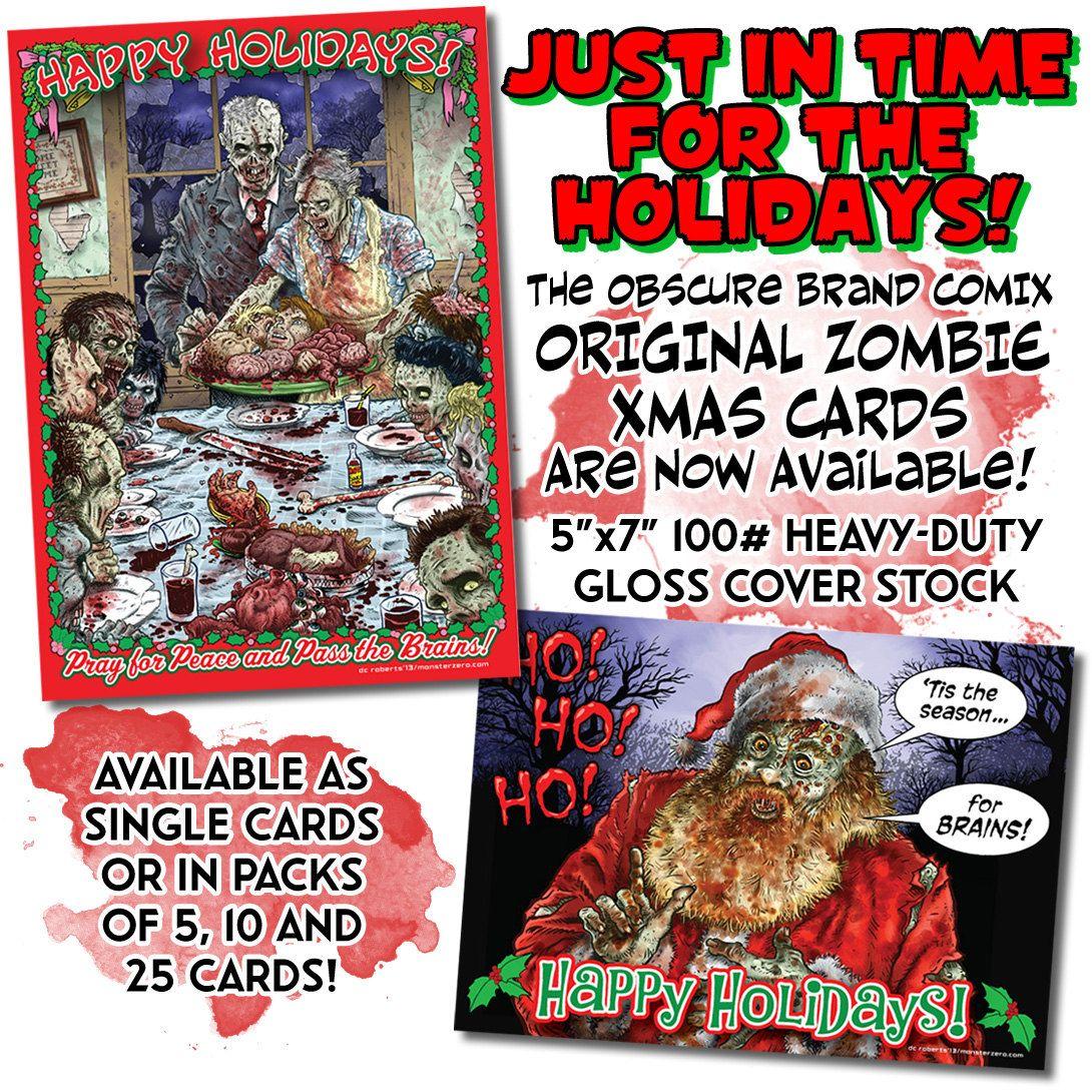 ZOMBIE XMAS CARDS - 5x7 postcards by ObscureBrandComix on Etsy ...