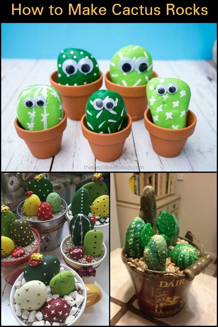 Add  indoor plant decor to your home by making cute maintenance free cactus rocks also rh pinterest