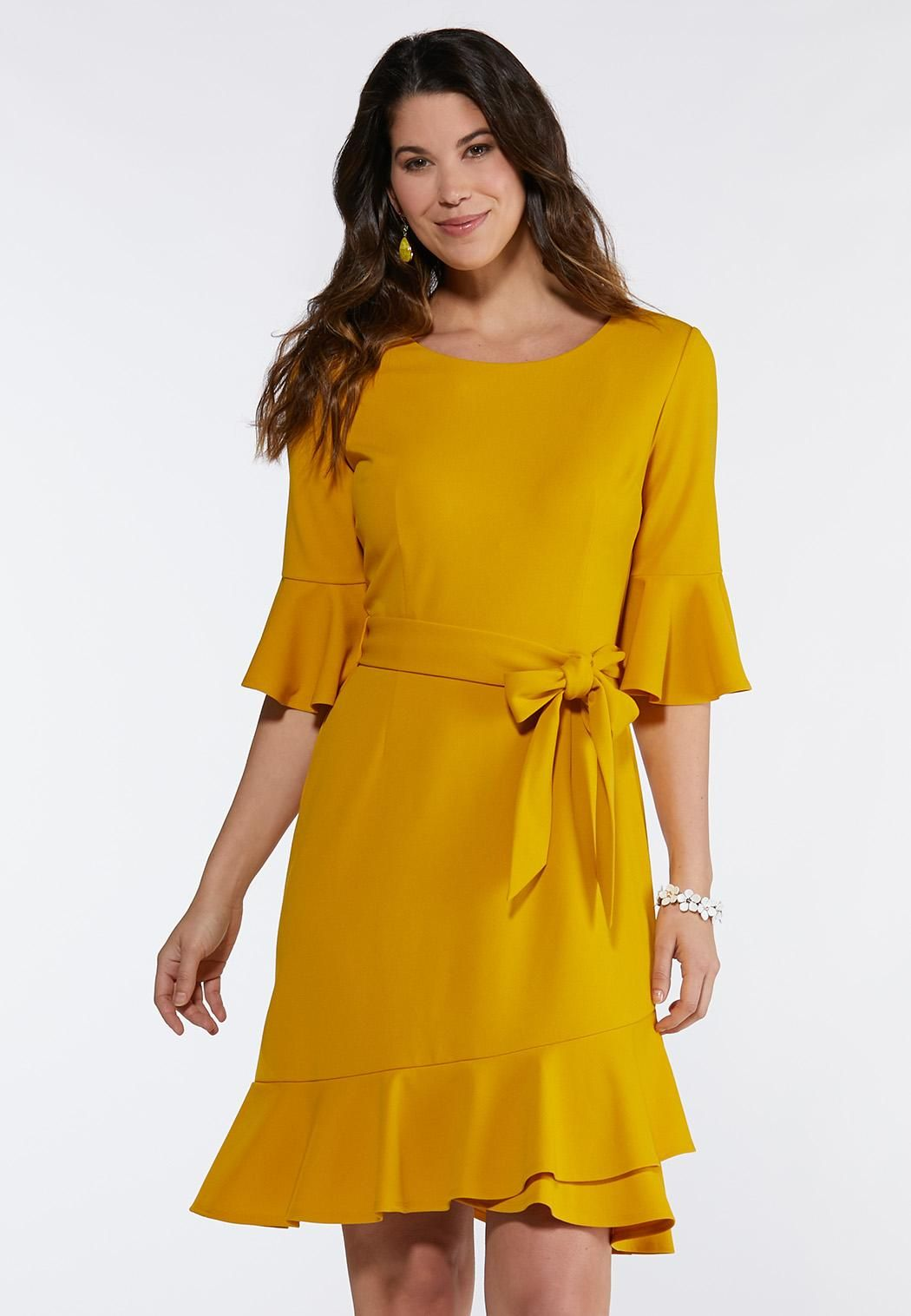 Plus Size Flounced Tie Waist Dress A- Line & Amp ; Swing ...