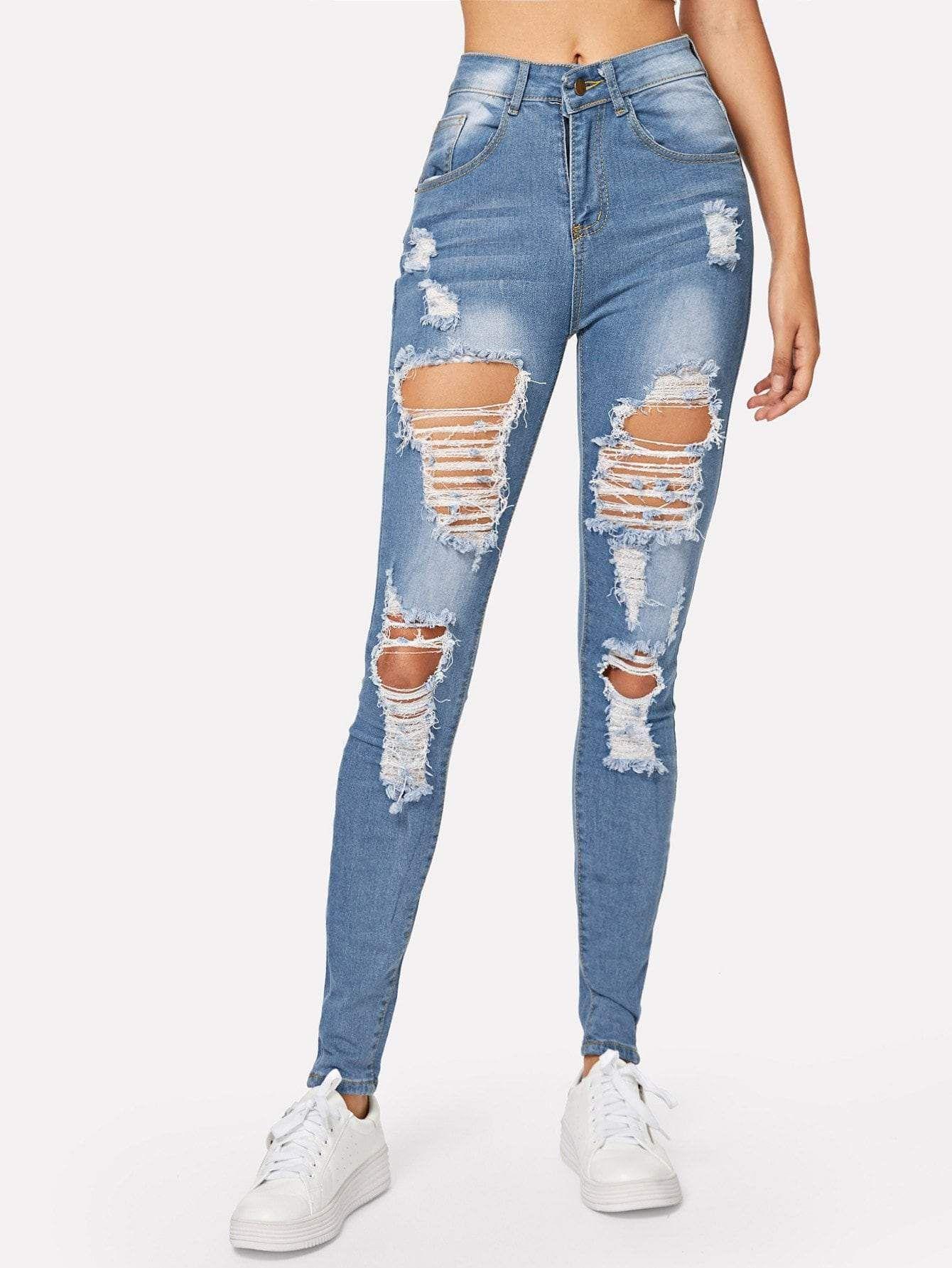 Arranco La Lejia Lavar Los Pantalones Vaqueros Flacos Cute Ripped Jeans Jeans Outfit Casual Best Jeans For Women