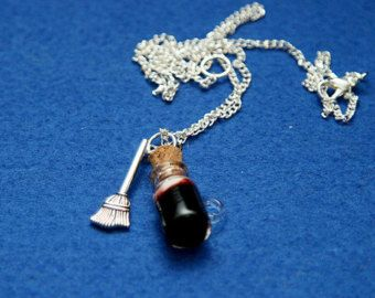 Butter beer and a broom charm mini cork bottle pendant
