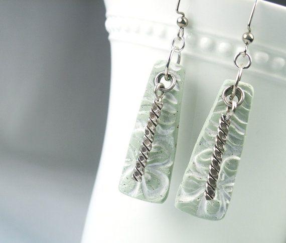 Use rhinestone strip...................Polymer Clay Earrings featuring Sea Foam by WiredOrchidJewelry, $22.00