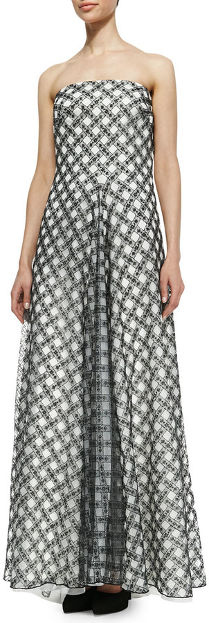 Tadashi Shoji Strapless Plaid Ball Gown, Black/White #tadashi #gown #black #white #checks #fashion #strapless #dress #bridesmaid