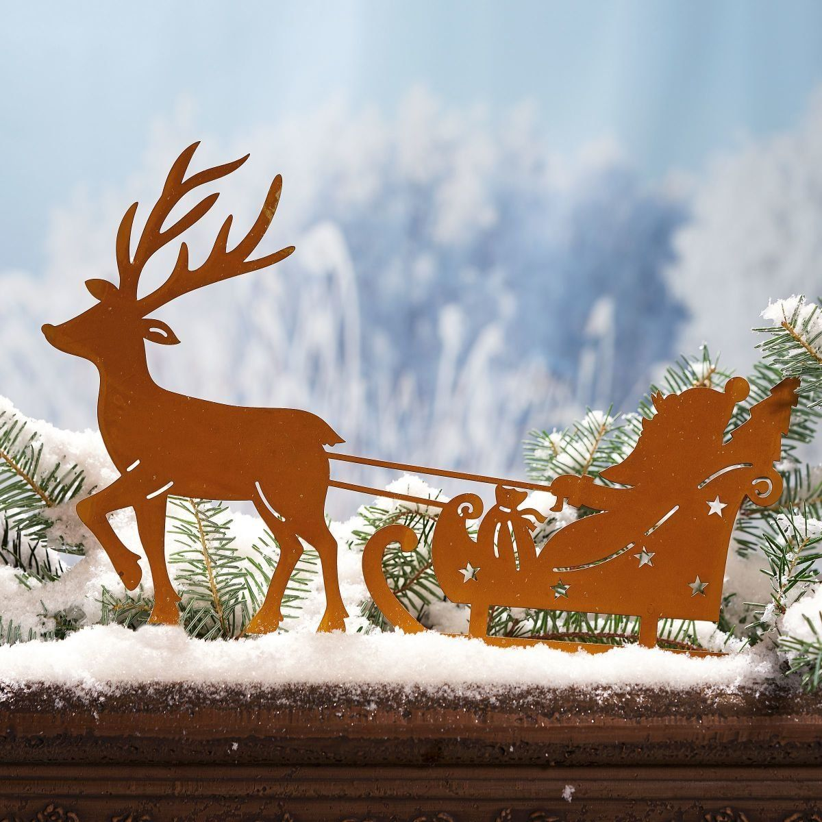 Gartenstecker Weihnachten.Weihnachtsdeko Gartenstecker Weihnachtsmann Mit Schlitten