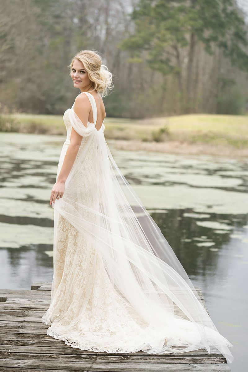 Lillian West - Style 6455: Airy Tulle and Lace Gown with Cold ...