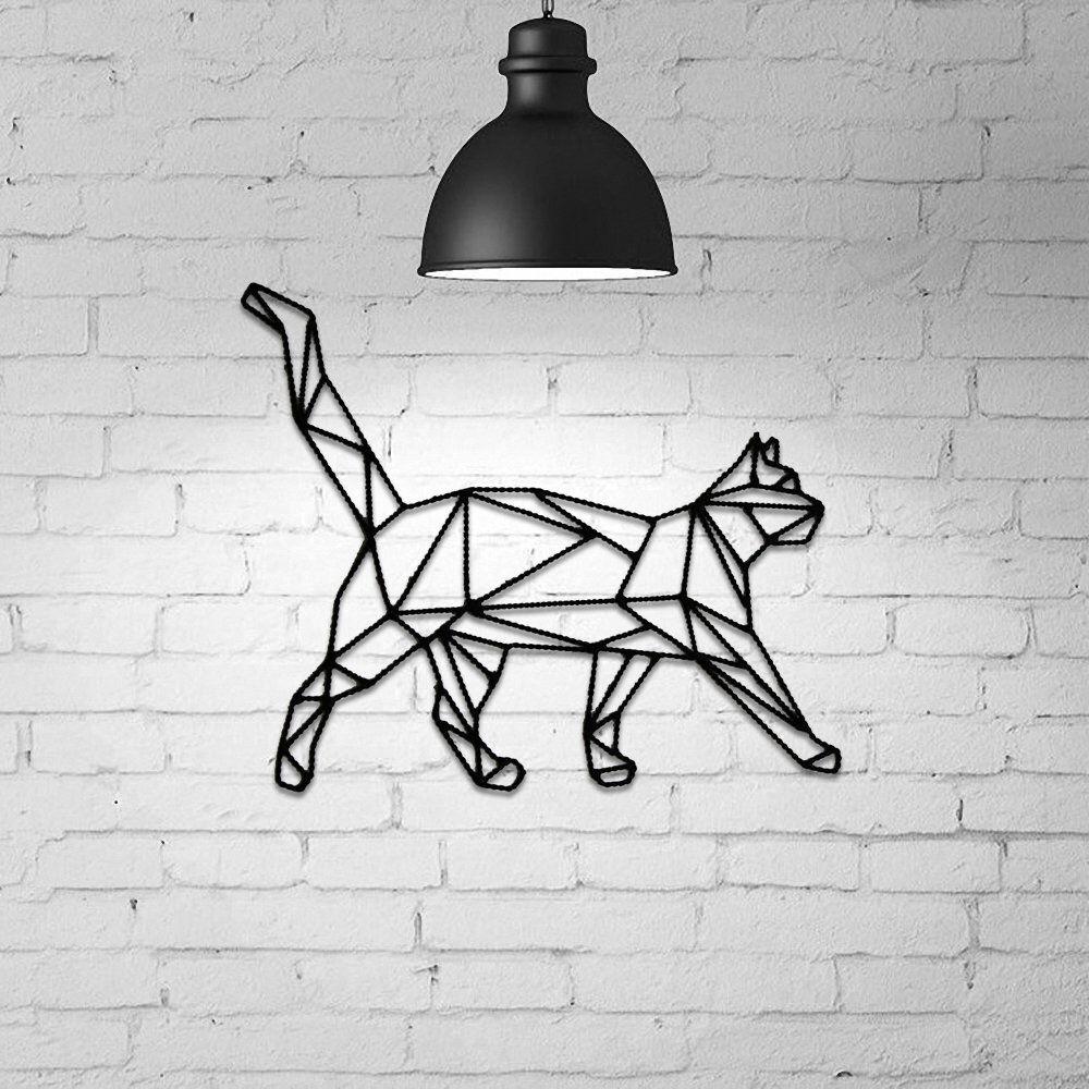 Cat Wall Hanging, Geometric Cat, Cat gift idea, Geometric