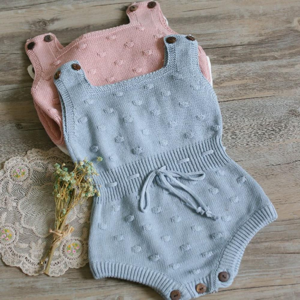 ddc15c367 Baby Girls romper sleeveless Newborn Baby Girls Knitted Halter ...