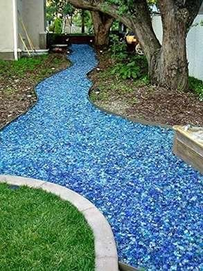 Photo of Tumbled Glass Walkway …Even allowing for the future deck grape arbor raised ve…