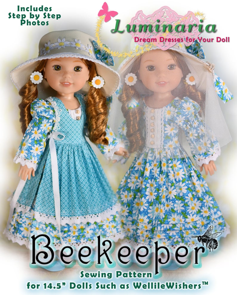 14 Inch Doll Clothes Pattern Beekeeper Fits American Girl Wellie Wishers Heart 4 Heart Dolls Glitter Girls Dress by Luminaria Designs #dolldresspatterns