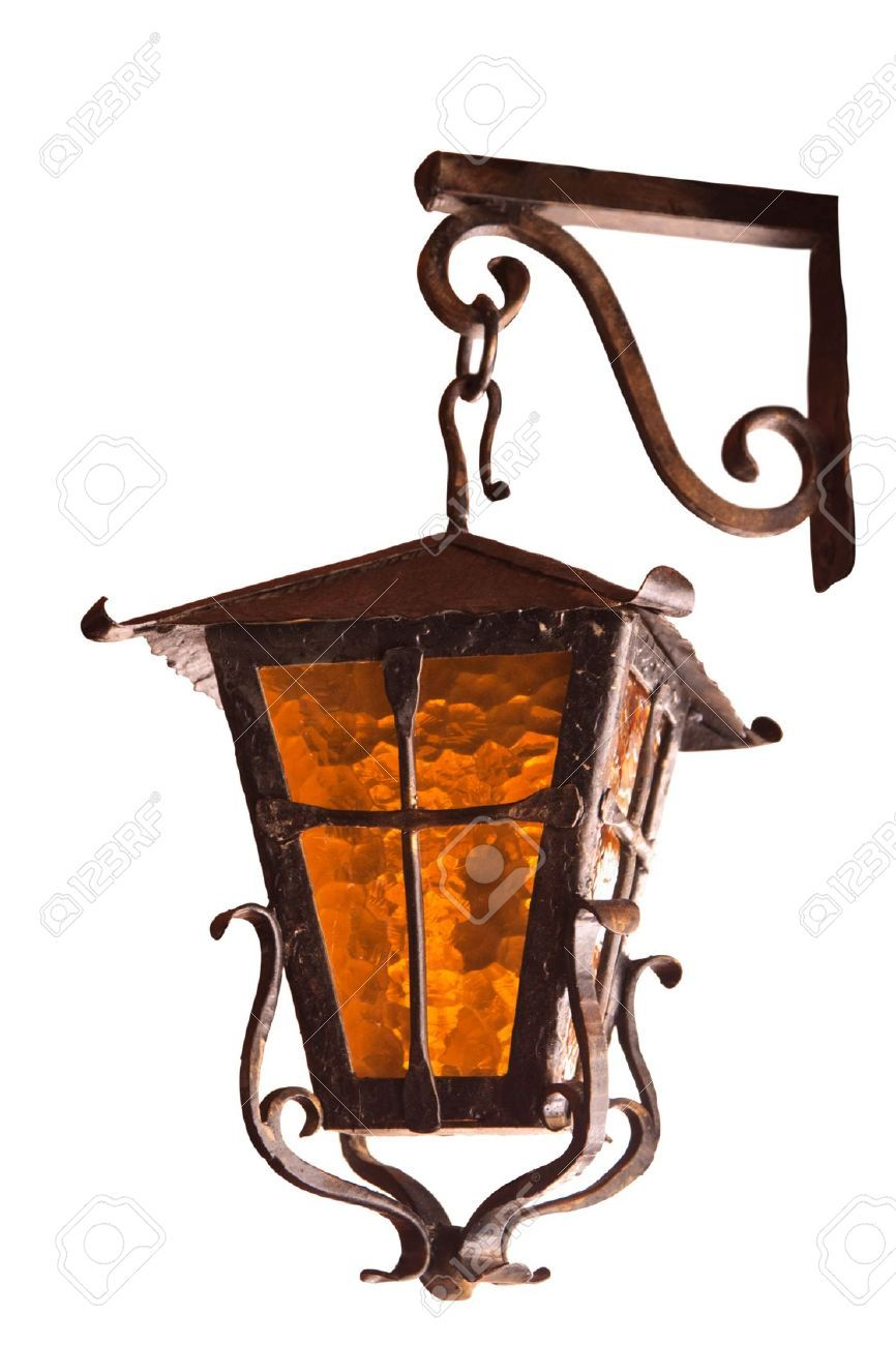 11802114 Old Wrought Iron Lamp On A White  Amazing Design