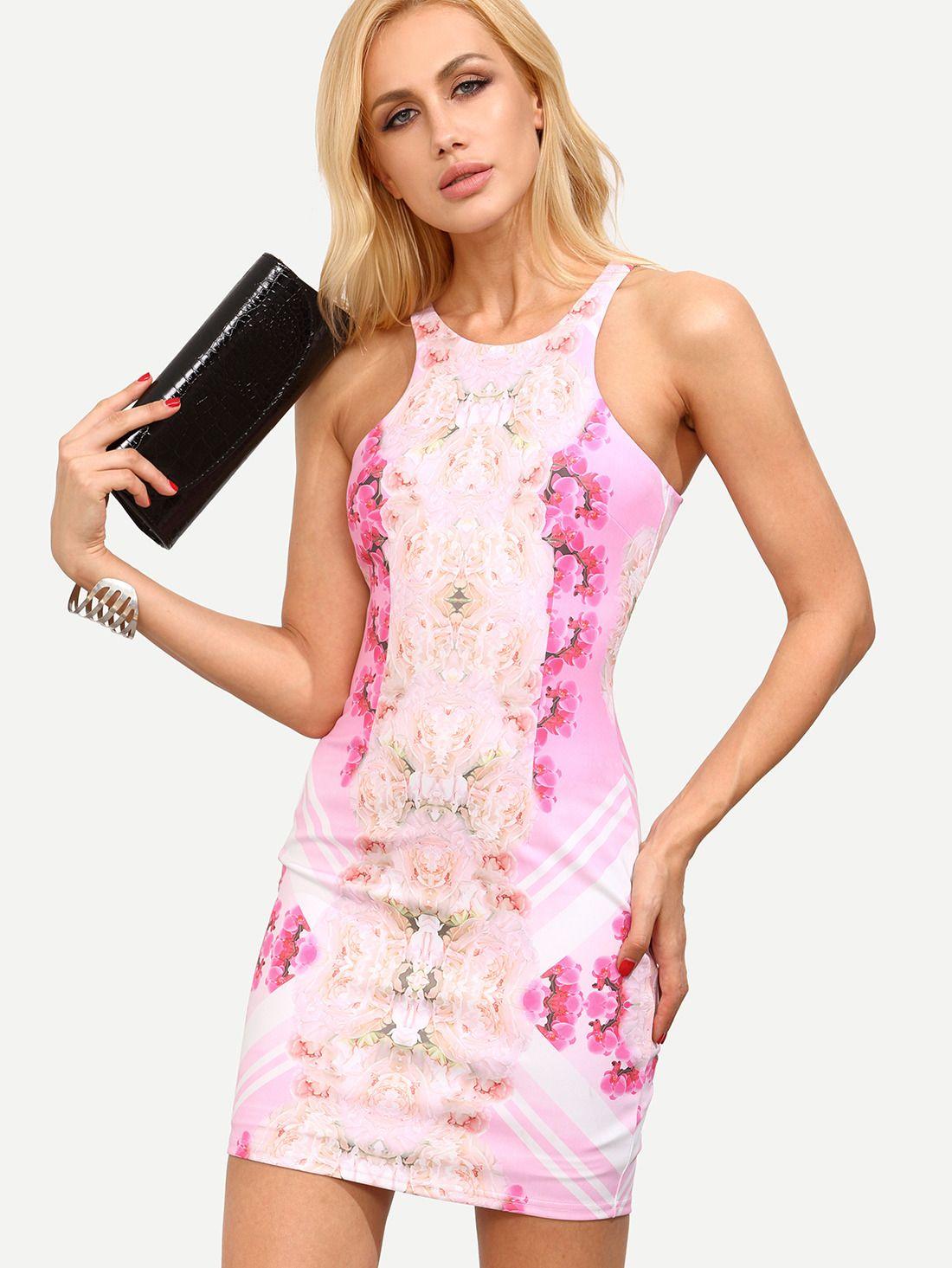 Multicolor floral cutaway bodycon dress shops black sequins and