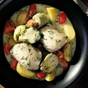 Low-Calorie One-Dish Recipes    Greek Chicken & Vegetable Ragout  Chicken thighs stay moist and succulent during slow cooking, infusing the accompanying vegetables with superb flavor. This easy braise has a luxurious finish of avgolémono, a versatile Greek sauce made with egg, lemon and fresh dill.