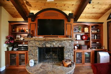 Striking Fireplace Wall. Beautiful Custom Arched Top Cabinet For The · Tv  Over ...