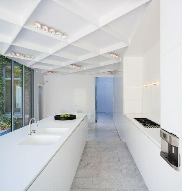 Küchen LED Deckenleuchten minimalistische weiße Farbe küchenidee