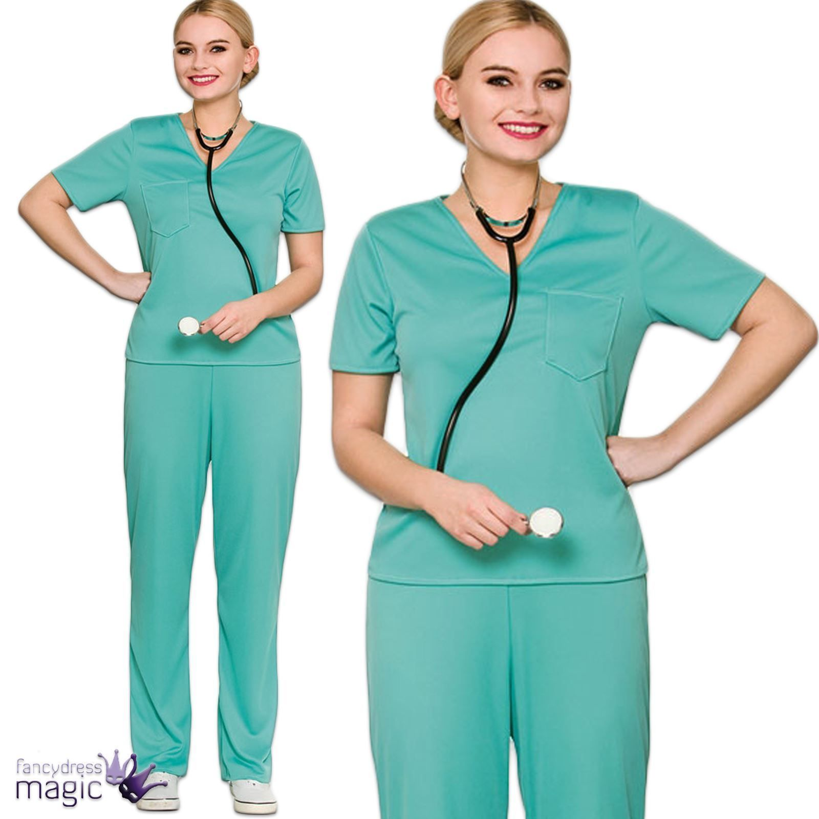 1a8cd85aa6f Ladies Adults ER Scrubs Doctor Surgeon Hospital Nurse Fancy Dress ...