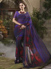 Purple & Red Color Georgette Casual Party Sarees : Dhruvita Collection YF-31841