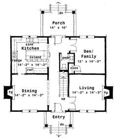 Center Hall Colonial Floor 1 Love It Except Move Fireplace To Wall Between Den Middot Architectur Colonial House Plans Colonial House Center Hall Colonial