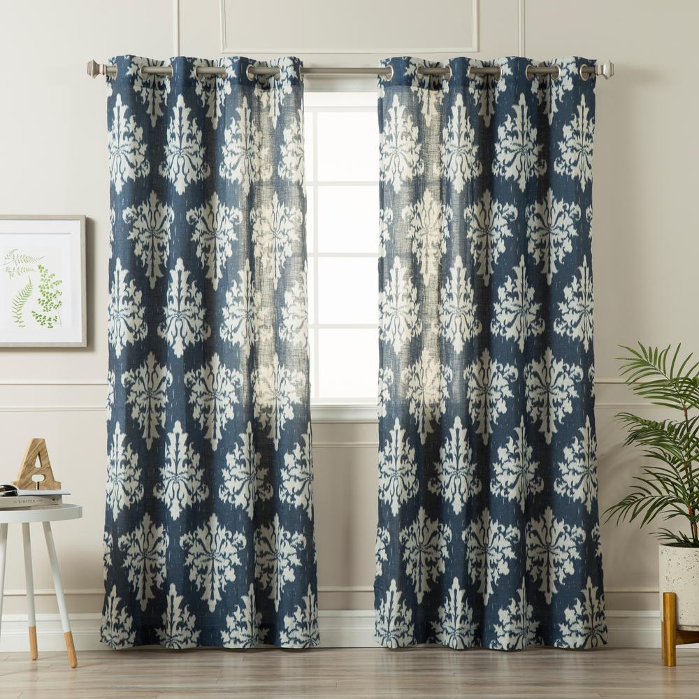 Best Home Fashion 96 In L Linen Blend Medina Curtains In Navy 2