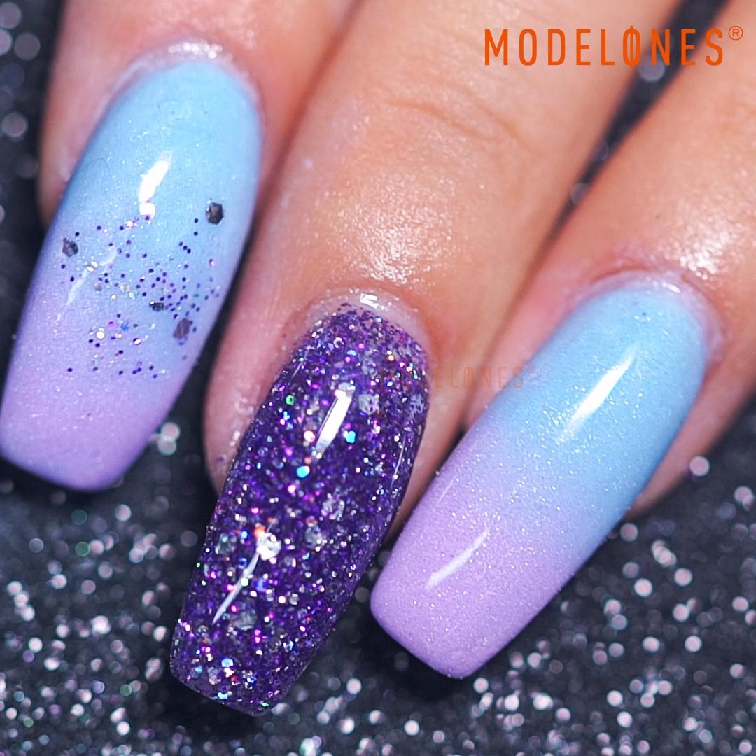 Blue and Purple Nail Art