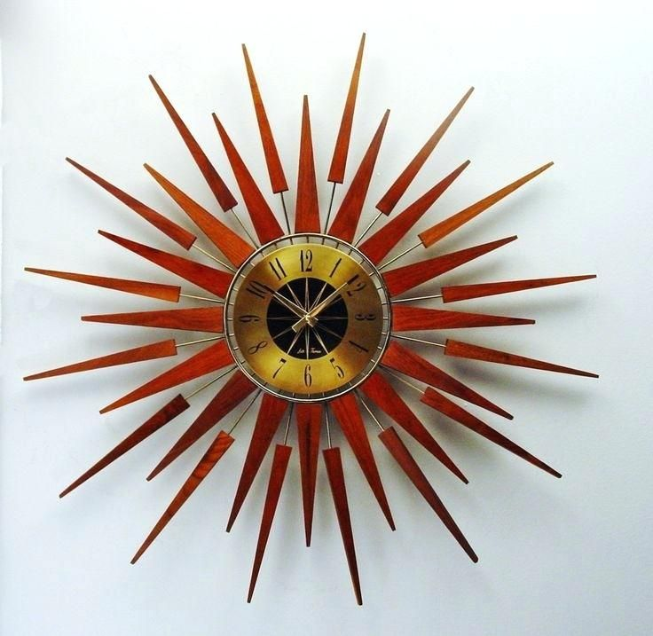 Retro Starburst Wall Clock Uk Pluto Gold Silver By Seth Thomas Mid Century Modern 1970s Starflower