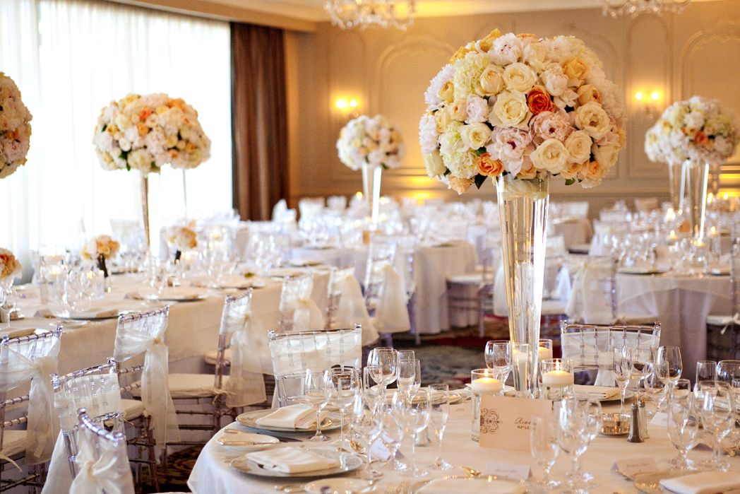A Selection Of The Perfect Peach Coloured Flowers Were Used For Tall Fl Centrepieces