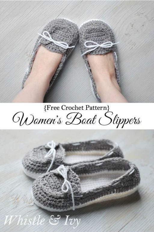 Free Pattern – Boat Shoes (Crochet   Pantunflas, Tejido y Zapatillas