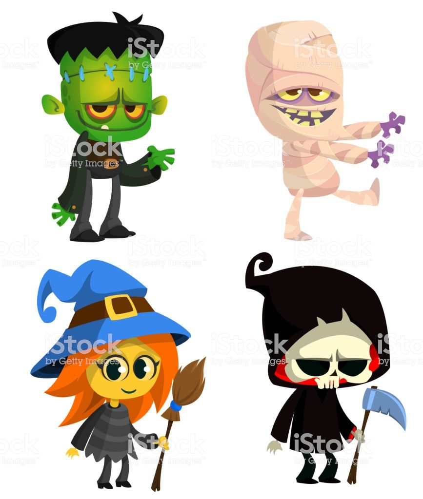 Set Of Halloween Characters Vector Cartoon Zombie Mummy Witch