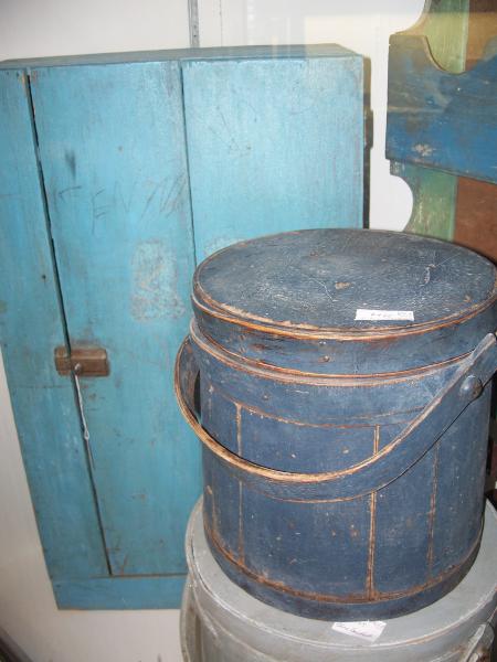 Blue Firkin And Cupboard Primitive Painted Furniture Blue Decor Primitive Decorating