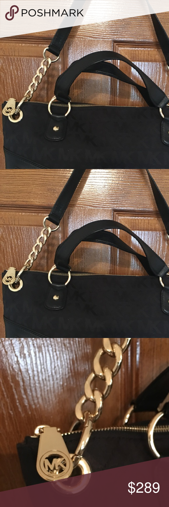 aa480f7aac74 Michael Kors large bag two way logo canvas Gorgeous MK authentic bag new  with tags. 2 way bag double strap. Beautiful ! Michael Kors Bags Shoulder  Bags