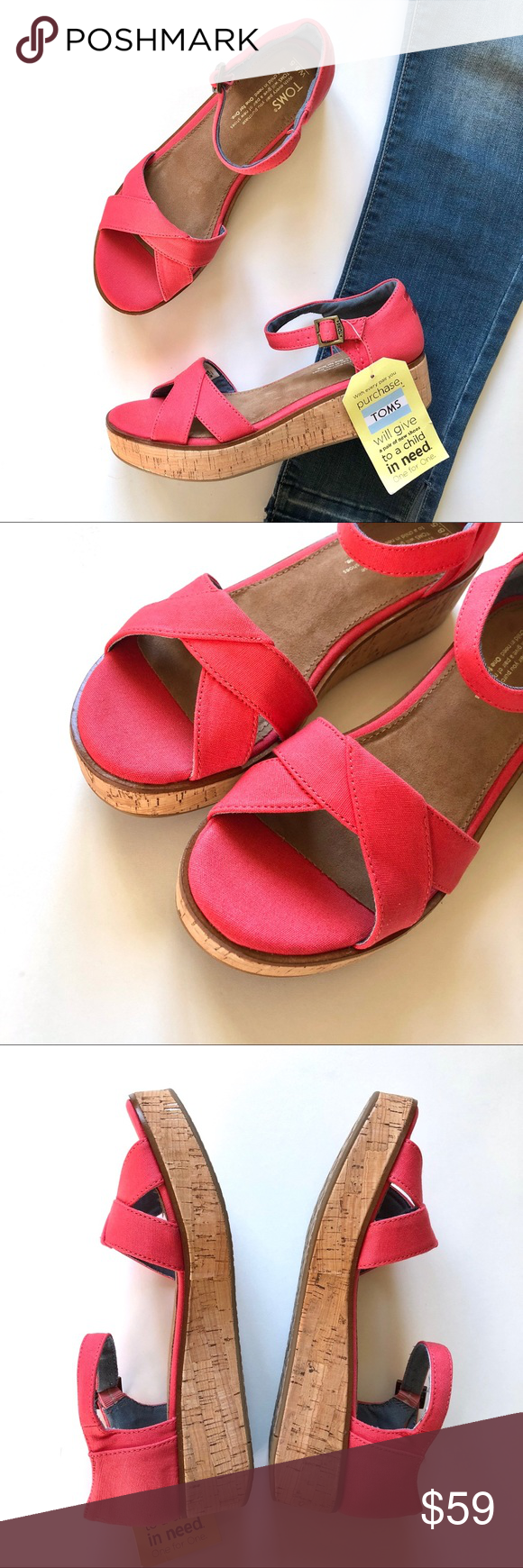 1d363f129f9b NWT TOMS Harper Coral Canvas Wedge Sandals Classic and preppy coral canvas  strappy wedge Harper sandals