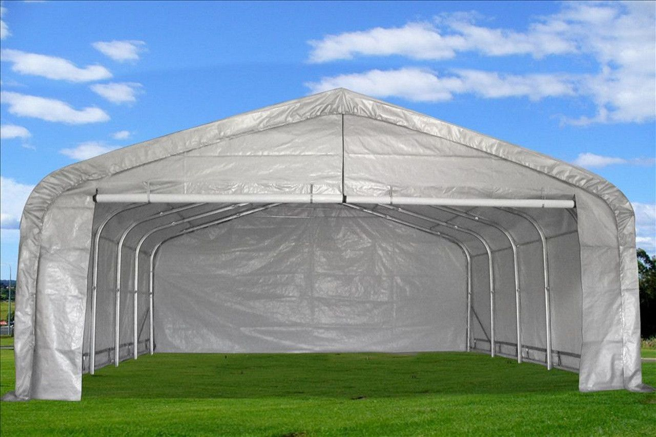 20'x22' GARAGE Storage Canopy Shed Carport Grey/White