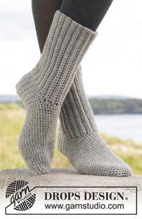"""Comfort Rib - Heklet DROPS sokk i """"Alaska"""". Str 35 – 43. - Gratis oppskrift by DROPS Design"""
