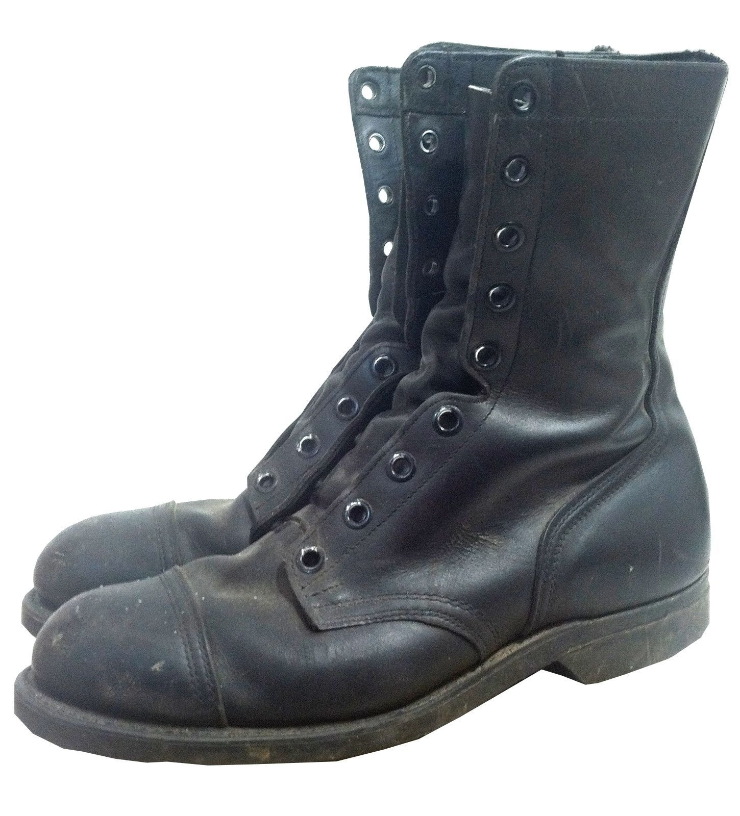 1960s black leather mens combat boots with steel toes, 18 holes ...