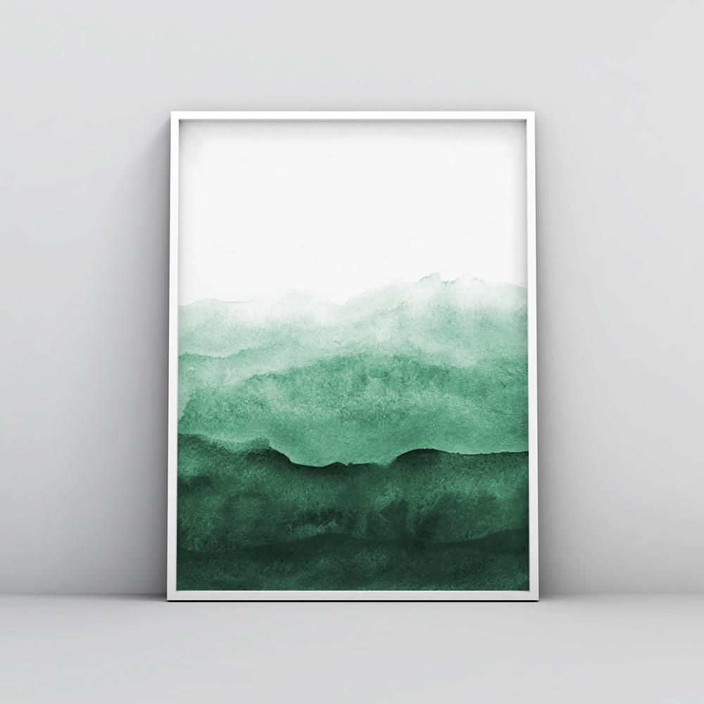 Minimalist Emerald Green Watercolour Painting 2 images
