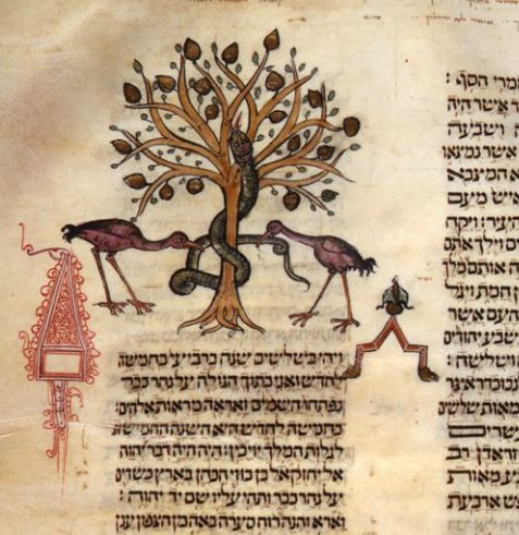 Bible, Hebrew. Biblioteca Naional de Portugal. Illuminated by Joseph Asarfati, circa 1299-1300.Miniature color and gold; 282x220 mm Margin illustrations, full page illustrations, anthropomorphic Hebrew lettering.