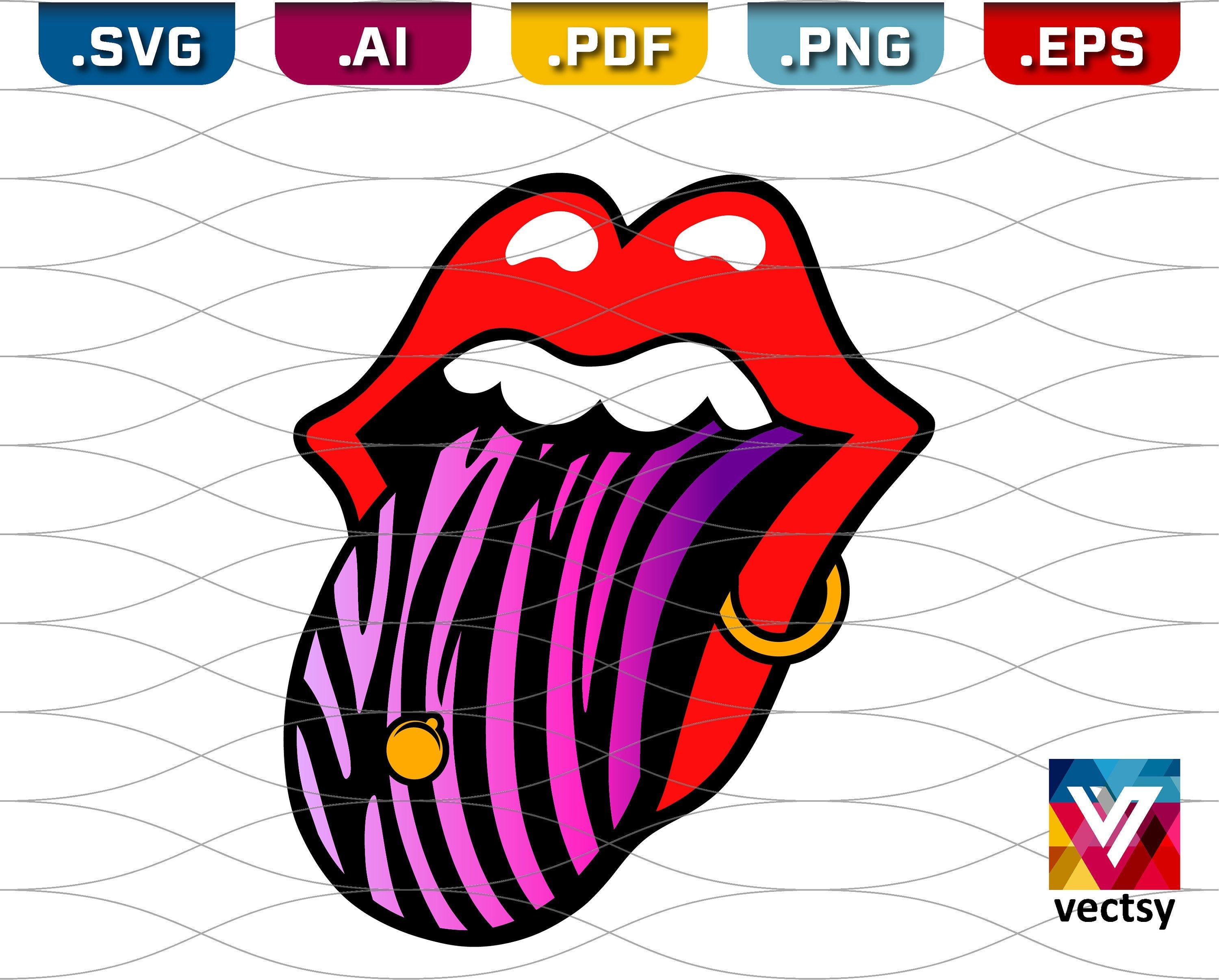 Lips and Tongue SVG Pierced Lip and Striped Tongue Clipart