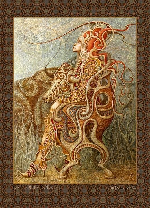 Rape of Europa card  - Boris Indrikov
