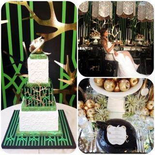 Coordinator Confab- Interactive Seminar, aspiring Wedding Planners, Day 2, photo shoot, green and gold, laser cut menu, cake, hanging lanterns, golden apple www.aboutdetailsdetails.com