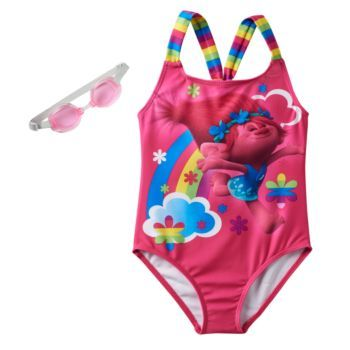 Girls Trolls Poppy Swim Suit One Piece Bathing Suit Size 2T Nice New