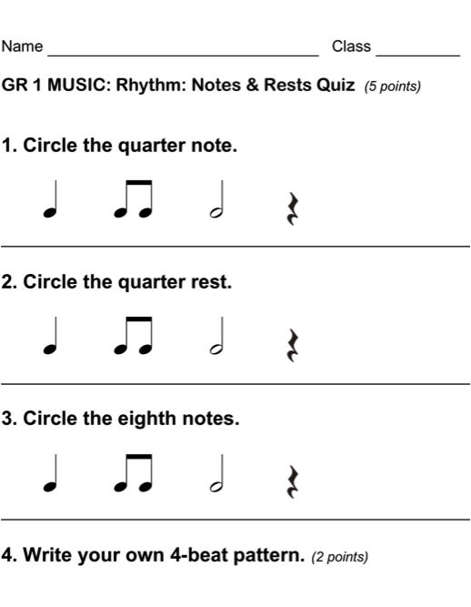 Beths Music Notes Excellent Assessments For Each Grade Level