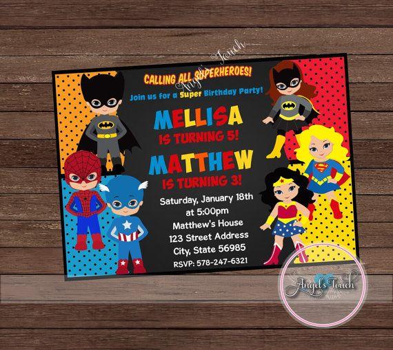 Combined Birthday Parties Joint Cumple Super Heroes Superhero Invitations Girl