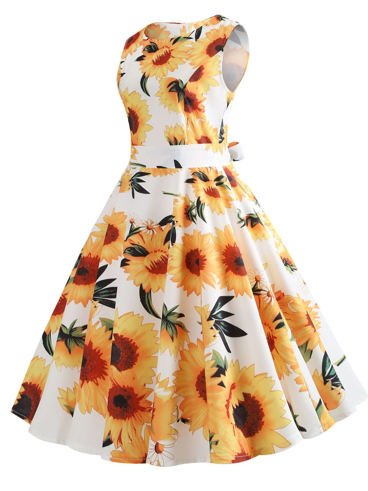 8b24288ce208 Yellow And White 1950s Sunflowers Dress – Retro Stage - Chic Vintage Dresses  and Accessories